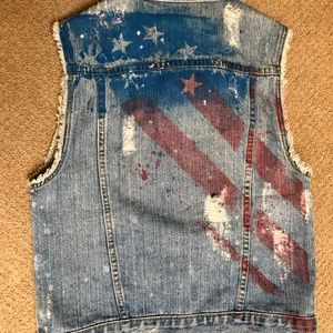Urban Outfitters BDG American Flag Distressed Vest